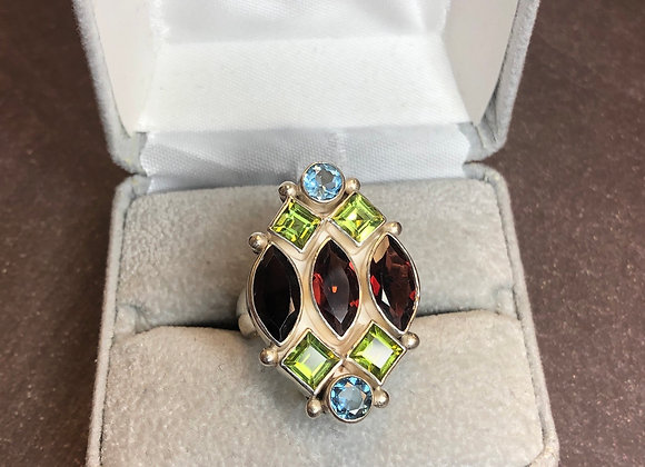 Sterling silver multi-colored ring, size 8
