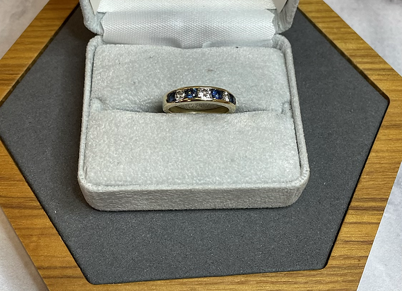 14k gold ring with .35 ct sapphires .30 ctw diamonds