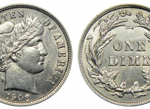 United Sates 90% Barber Dime
