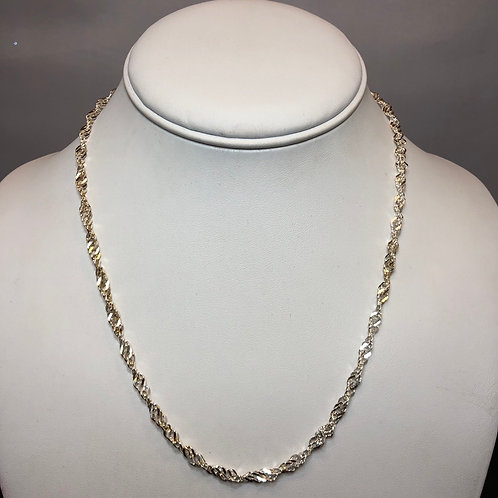 """Sterling Silver Braided Link Necklace - 16"""""""