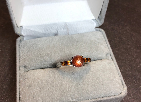Sterling silver Orange ring, size 6