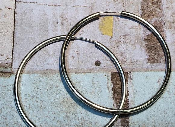 """Sterling Silver 2 3/4"""" Hoop Earrings"""