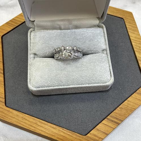 18k wedding set .90 ctw diamonds