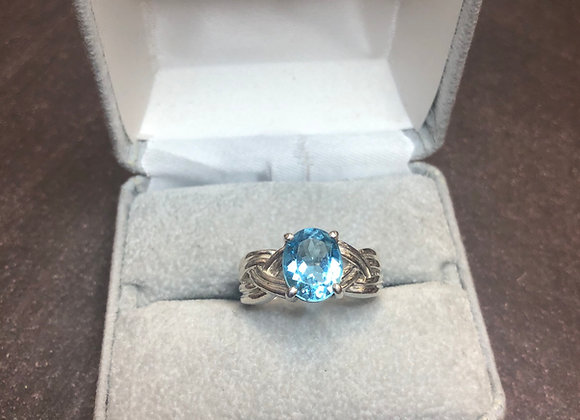 Sterling silver blue cz ring, size 7