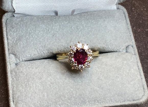 18k 1.0 carat pink sapphire ring, size 6.25
