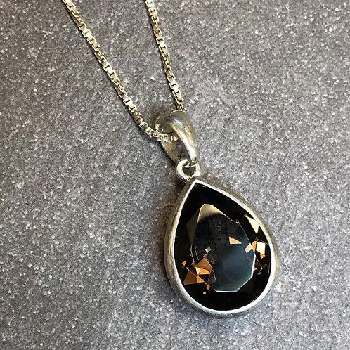 Sterling silver 7.0 carat Smoky Quartz pendant