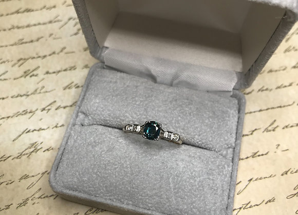 14k Vintage Teal Sapphire and Diamond Ring