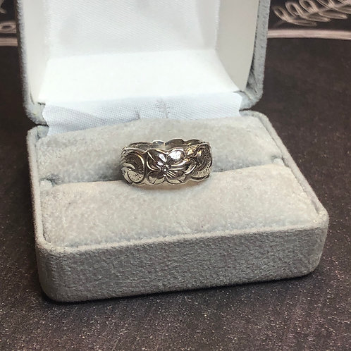 Sterling silver floral ring, size 5.75