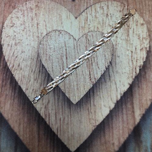 "Sterling Silver Braided Link Bracelet  - 7"""
