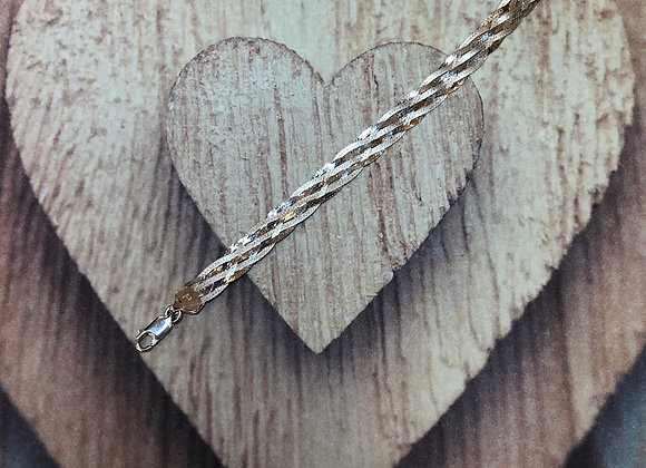 Sterling Silver Braided Link Bracelet  - 7""
