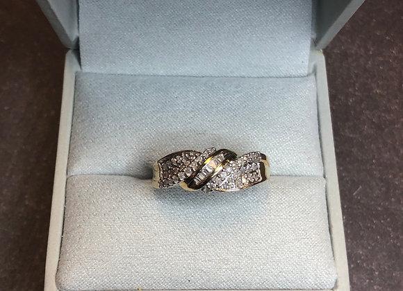 10k gold .25 ctw diamond ring, size 7