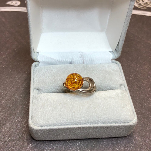 Sterling silver Amber Ring, size 5