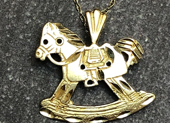 14k rocking horse charm