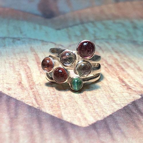 Sterling Silver 3 Band Gem Cluster Ring
