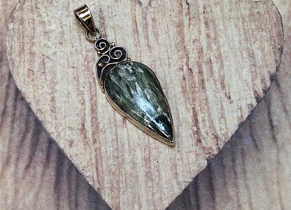 Sterling Silver Green Teardrop Pendant