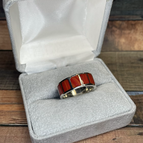 Sterling agate band, size 7.25
