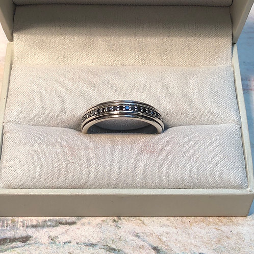 Sterling Silver Black Onyx Band