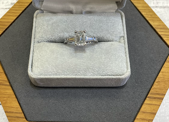 Emerald cut 2.47 carat tw diamond engagement ring