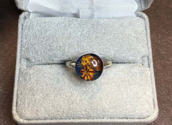 Sterling silver floral ring, size 7