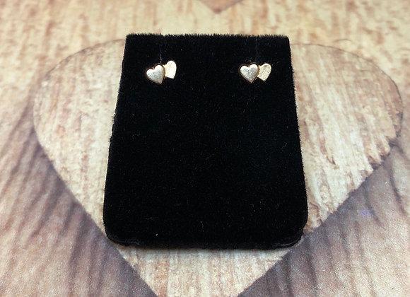 14k Double Heart Earrings