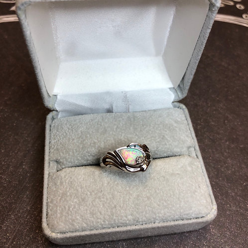 Sterling silver opal ring, size 5