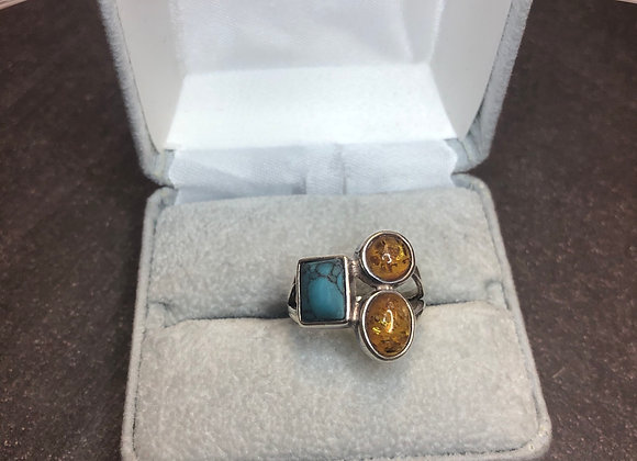 Sterling silver ring turquoise & amber, 6.5