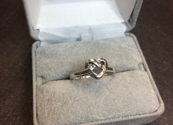 Sterling silver heart ring, size 10
