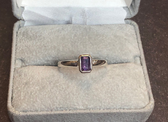 Sterling silver amethyst ring, size 8.75