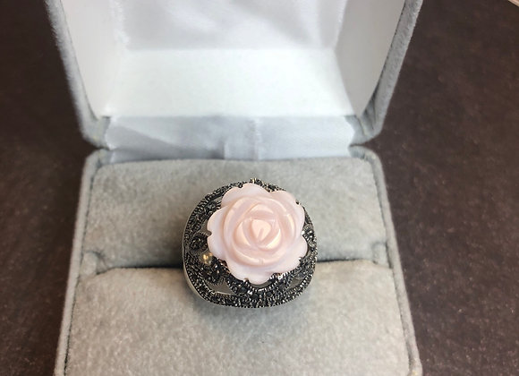 Sterling silver coral rose ring, size 7