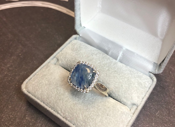 Sterling silver ring blue stone, size 10
