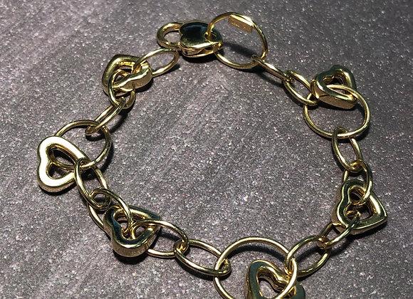 14k gold heart link bracelet