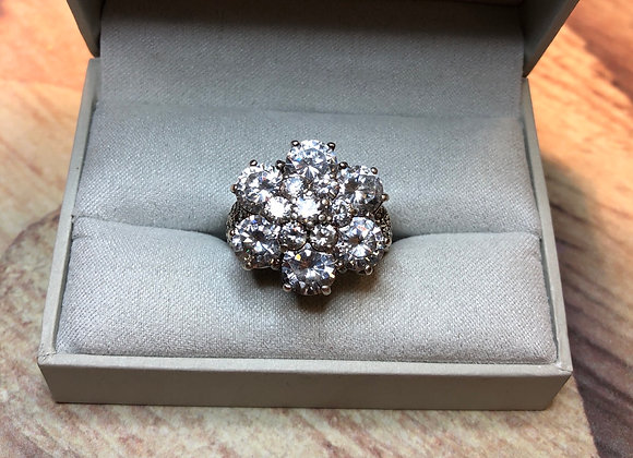 Sterling Silver Large Cubic Zirconia Ring