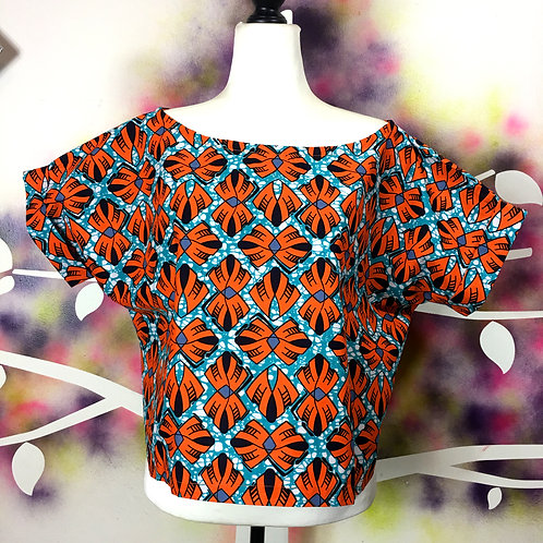 Box Top- Orange Fan print