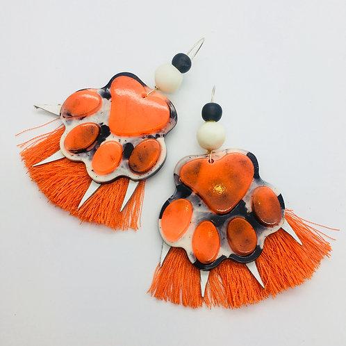 'Pawsome' Tangerine Tassel Earrings