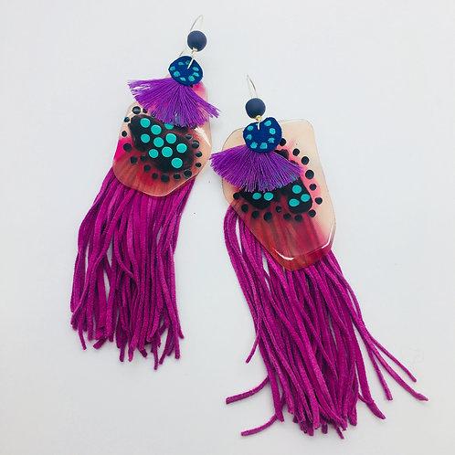 'Disco Fever' Luxe Tassel Fuschia Amoeba Earrings