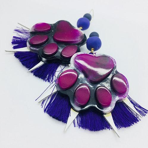 'Pawsome' Purple Tassel Earrings