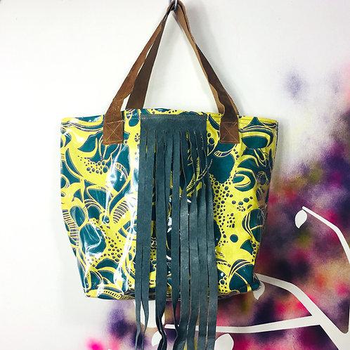 Charteuse Linen Toadskin Shoulder Bag