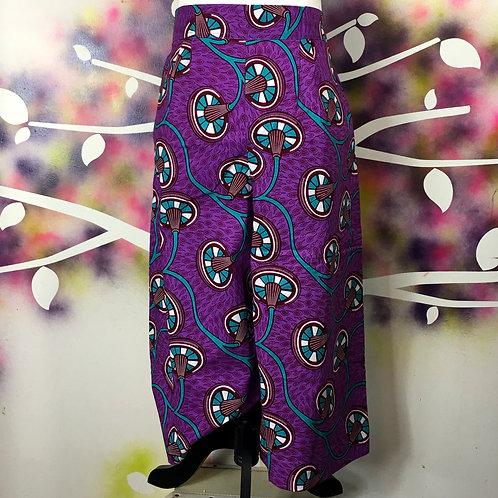 Wide-leg Cropped Pants- Purple Plug print