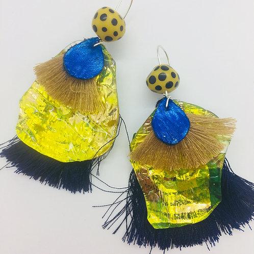 Mellow Yellow Tassel Fauxpal Earrings