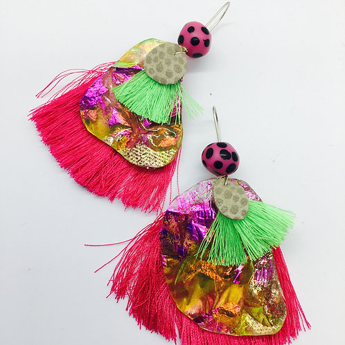 Fauxpal- Metallic Foils and Yellow with Pink and Lime Tassels
