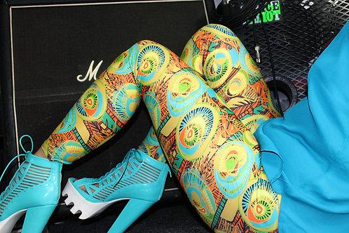 Leggings- Sticks n' Rolling Stones-Mustard  print