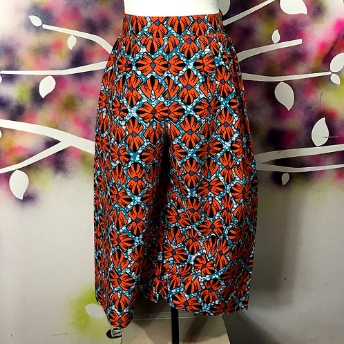 Wide-leg Cropped Pants- Orange Fan print