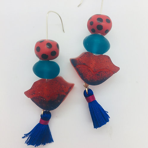 Blue Ladybug Lip Earrings