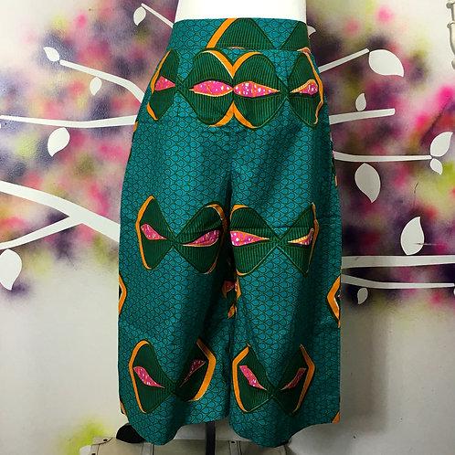 Wide-leg Cropped Pants- Green Eye print