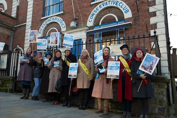 Women Chain Themselves To Conservative Club In Fracking Protest