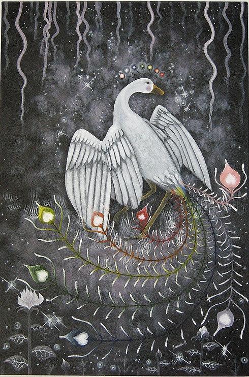 Rosellia, l'oiseau du bien,  huile, 24''