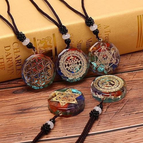 Orgonite Pendant Om Symbol Crystal Necklace