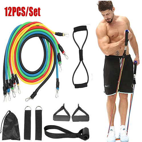 12pc Fitness Resistance Bands Set  for Fitness and training
