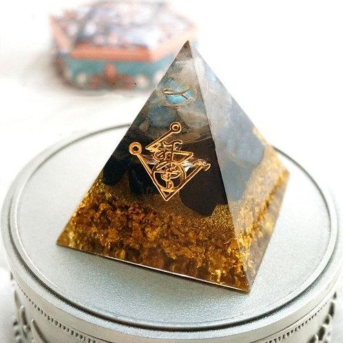 Orgonite Pyramid Muladhara Chakra Obsidian Natural Crystal