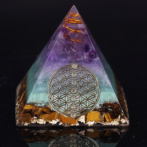 Healing Crystal Gold Wire Orgone Pyramid Stone